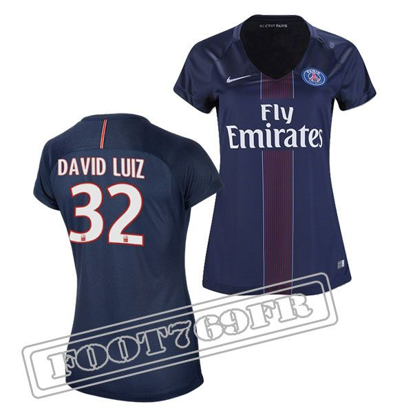 Promo Maillot Du David Luiz 32 PSG Femme Bleu Marine 16/17 Domicile : Ligue 1