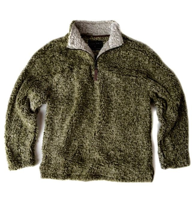 TRUE GRIT  FROSTY TIPPED PILE  1/4 ZIP PULLOVER- GREEN from The Shirt Shop