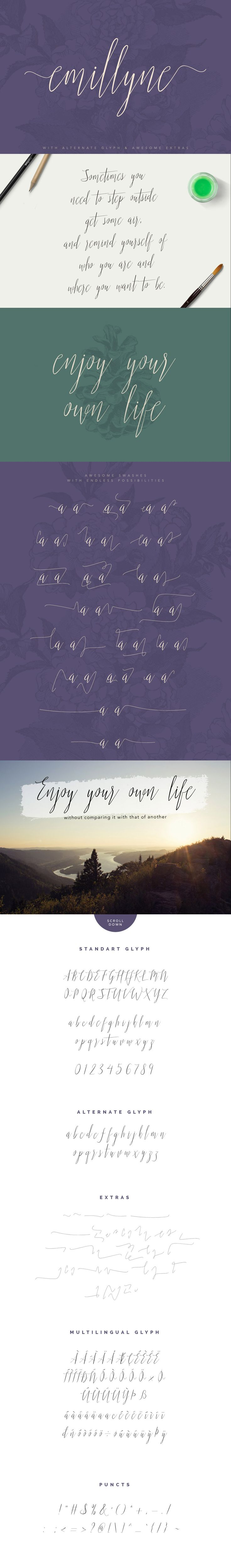 https://creativemarket.com/vuuuds/353608-Emillyne #script #brush #modern…