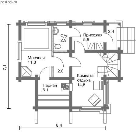 Проект бани с мансардой № C-096-1D - 1-й этаж