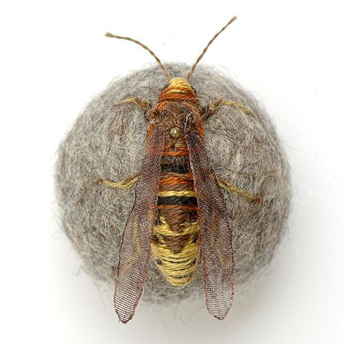 Stump work hornet - what I wouldn't give to be able to create something as intricate as this ....