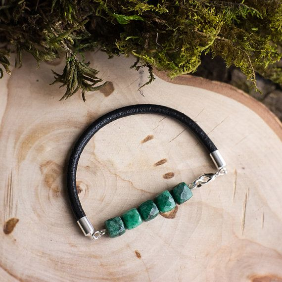 Leather emerald bracelet / natural gemstone by MyROCKandSOUL