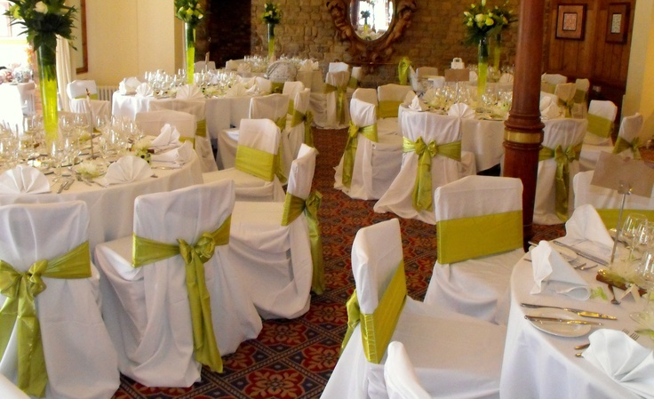 Apple Green Satin Bows on White Chair Covers