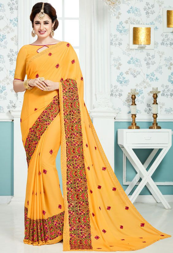 Yuvika Chaudhary Golden Yellow Embroidered Saree