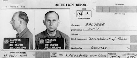 On this date in 1946, former Nazi chief cop Kurt Daluege hanged at Prague's Pankrac Prison. Daluege's postwar detention card. Daluege, who returned from World War I bearing an Iron Cross and an ear...