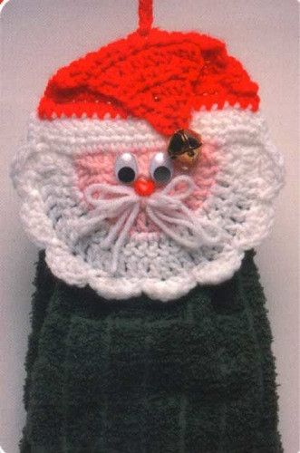 Picture of Santa and Snowman Towel Toppers Crochet Pattern