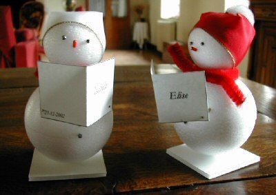 Simple Styrofoam balls make cute snowmen which can be used as place-cards or favors.