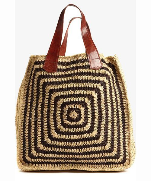 african straw crochet tote