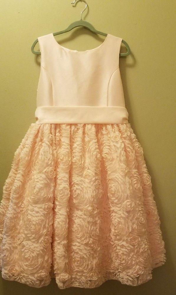 5273b43154ae Girls peach satin floral weave AMERICAN PRINCESS formal dress Size ...
