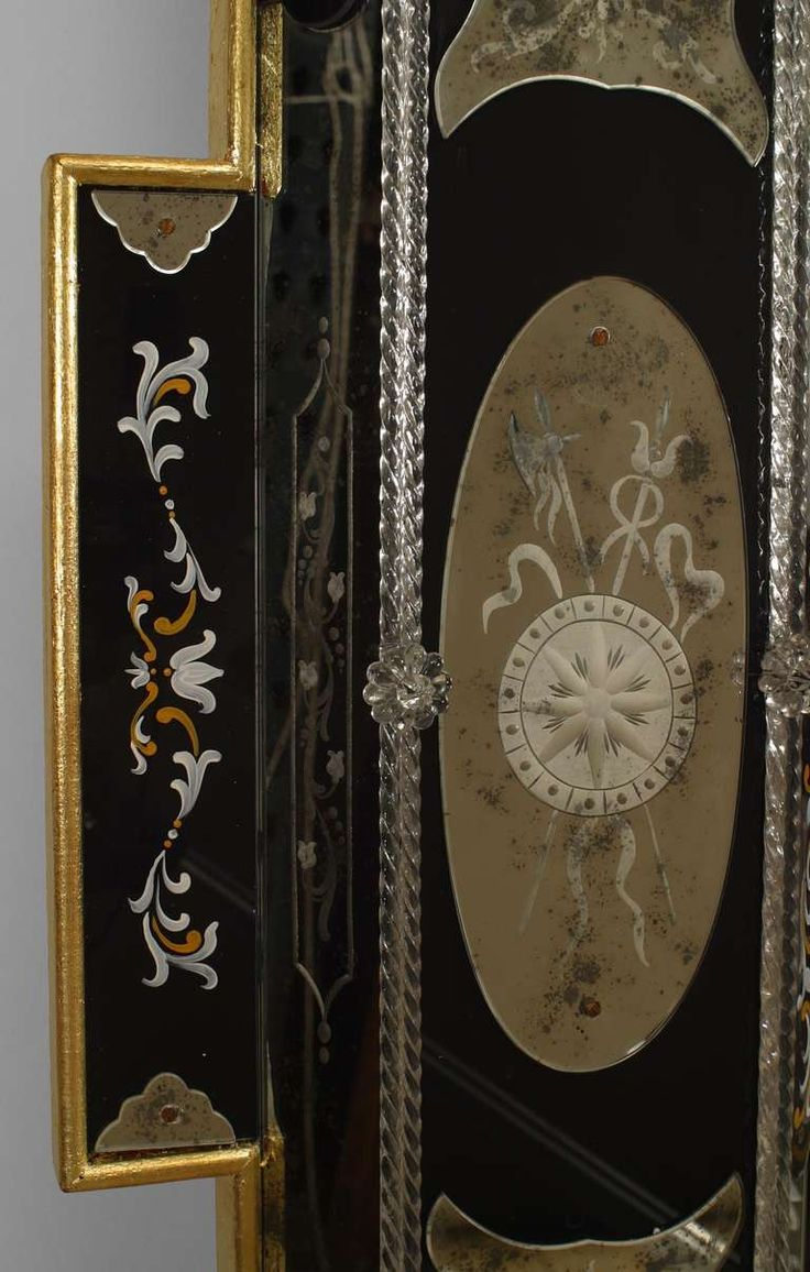 Antiqued mirror wall mirrors and mediterranean style mirrors - 2 Italian Layered Glass Wall Mirrors With Neoclassical Designs