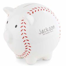 Mud Pie Baseball Piggy Bank Ceramic Gift Box Boys Personalizable