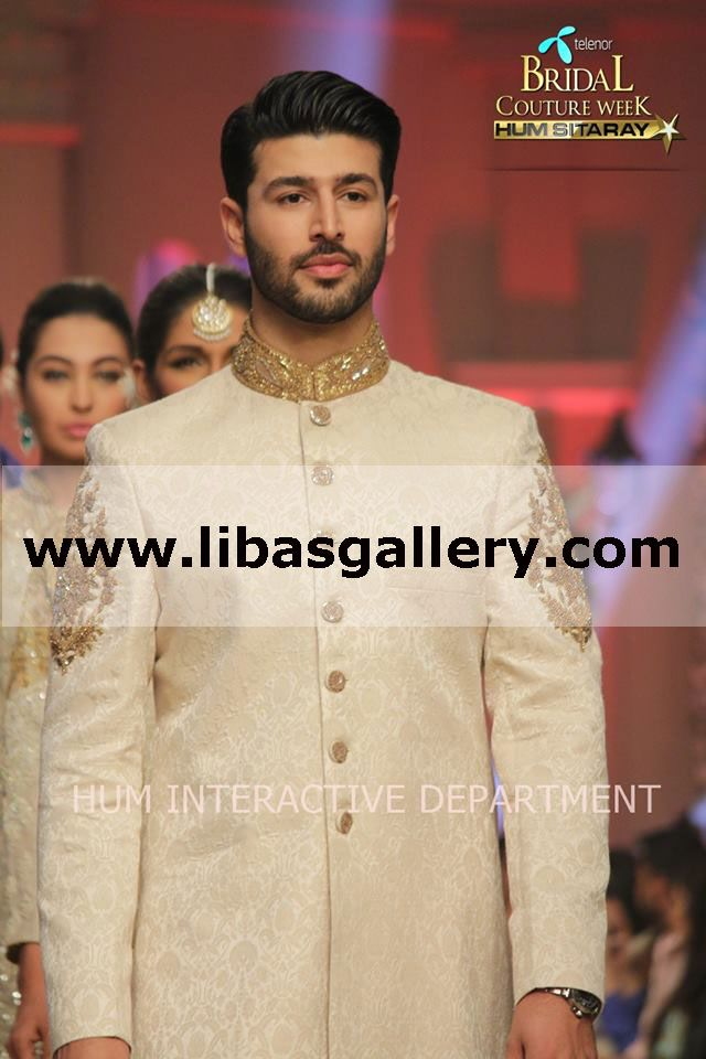 Umar sayeed's #TBCW2014 Bridal Collection 2014 - 2015 Telenor Bridal Couture Week 2014 Lahore Wedding Dresses Shop Online Reception Sherwani Suits, Mens Designer Sherwani, Indo Western Sherwani For Men. Latest Pakistani Sherwanis For Reception and Indian Sherwani For Groom At Affordable Prices www.libasgallery.com Can't Decide Which TBCW Fashion Trend to Wear Today?