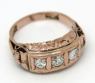 Victorian Style Diamond Ring in Rose Gold