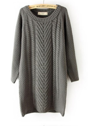 Grey Long Sleeve Long Cable Knit Sweater