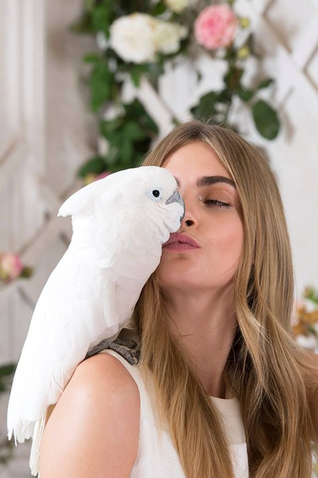Cara Delevingne with cute white parrot bird for Mulberry Spring Summer 2014 Ad Campaign.