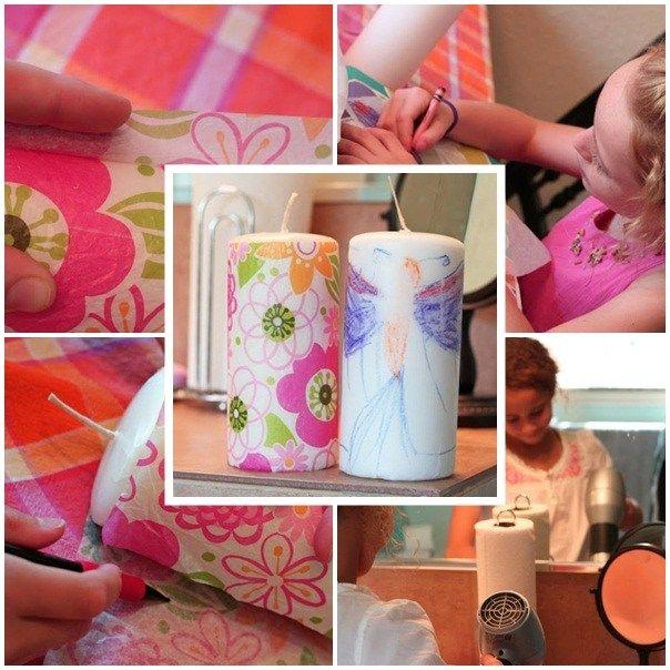 Basteln mit Kindern Anleitung Kerzen Seidenpapier dekorieren