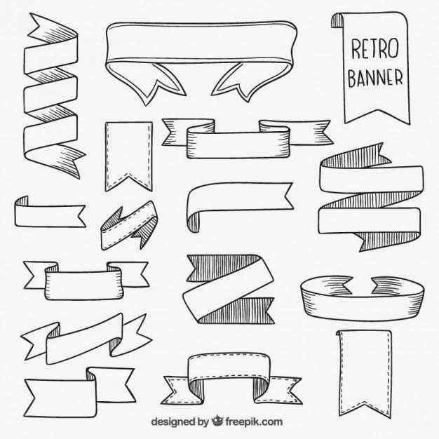 Desenhadas mão banners retro Vetor grátis