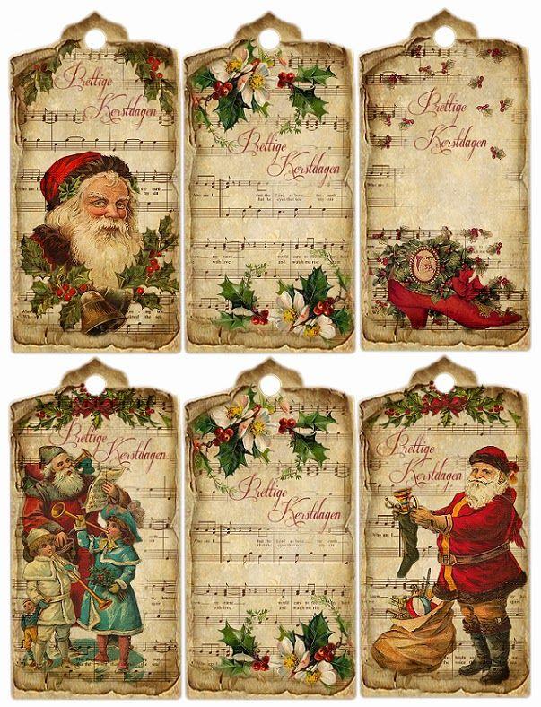JanetK.Design Free digital vintage stuff: Kerstlabels Engels/Nederlands