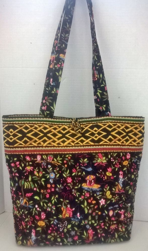Vera Bradley Weekend Travel Large Ming Pattern Grand Tote Handbag Purse Black Verabradley Purses Handbags Pinterest And
