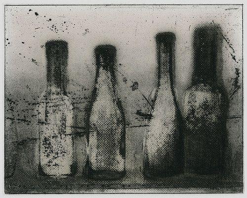 4 bottles I Masahiro Kawara Etching / giclee 2011