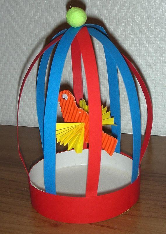 Oiseau dans sa cage - bricolage facile et sympa