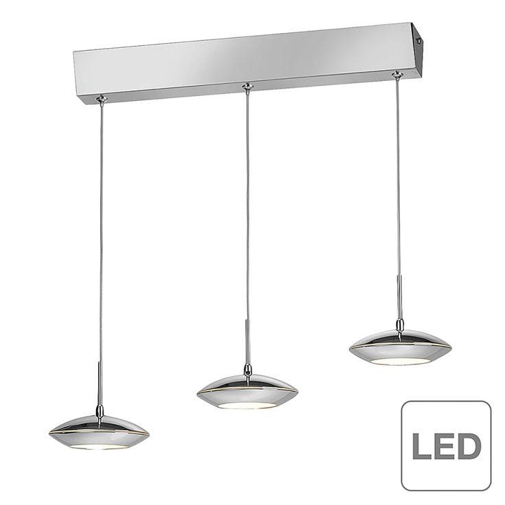 Lampada a sospensione Tebutt - 3 luci LED Cromo/Vetro Color argento