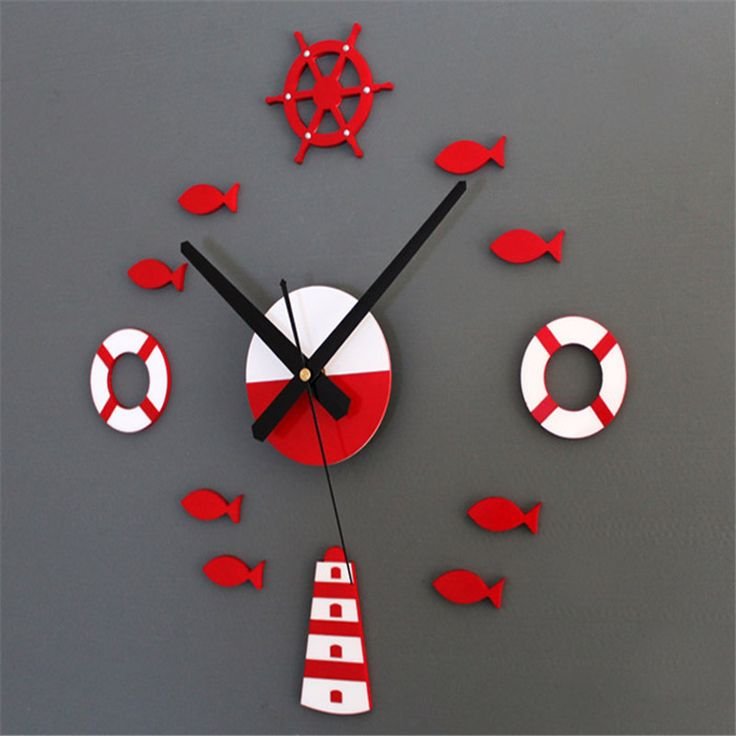 Taotown Mediterranean DIY Fish 3D Wall Clock Home Wall Stickers Decoration Art Clock Freeshipping & Wholeasle