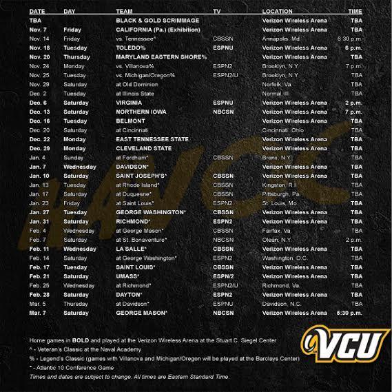 VCU 2014-2015 basketball schedule!