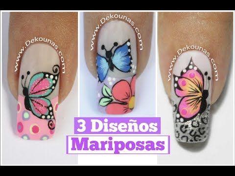 3 Diseños de uñas de mariposas Parte 1 - 3 Easy butterfly nail art tutorial - VER VÍDEO -> http://quehubocolombia.com/3-disen%cc%83os-de-un%cc%83as-de-mariposas-parte-1-3-easy-butterfly-nail-art-tutorial    3 Diseños de uñas de mariposas Parte 1 – 3 Easy butterfly nail art tutorial Para esta decoración he usado las pinturas acrilicas profesionales Deko,   pincel de detalle, dottings y el top coat de Deko Uñas. Encuentra el material en www.Dekounas.com o nuest