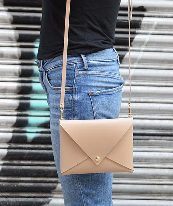 Nude Envelope ClutchCrossbody Nude Bag Handmade Leather
