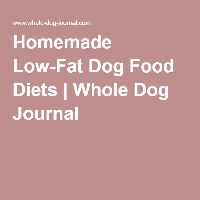 Homemade Low-Fat Dog Food Diets | Whole Dog Journal