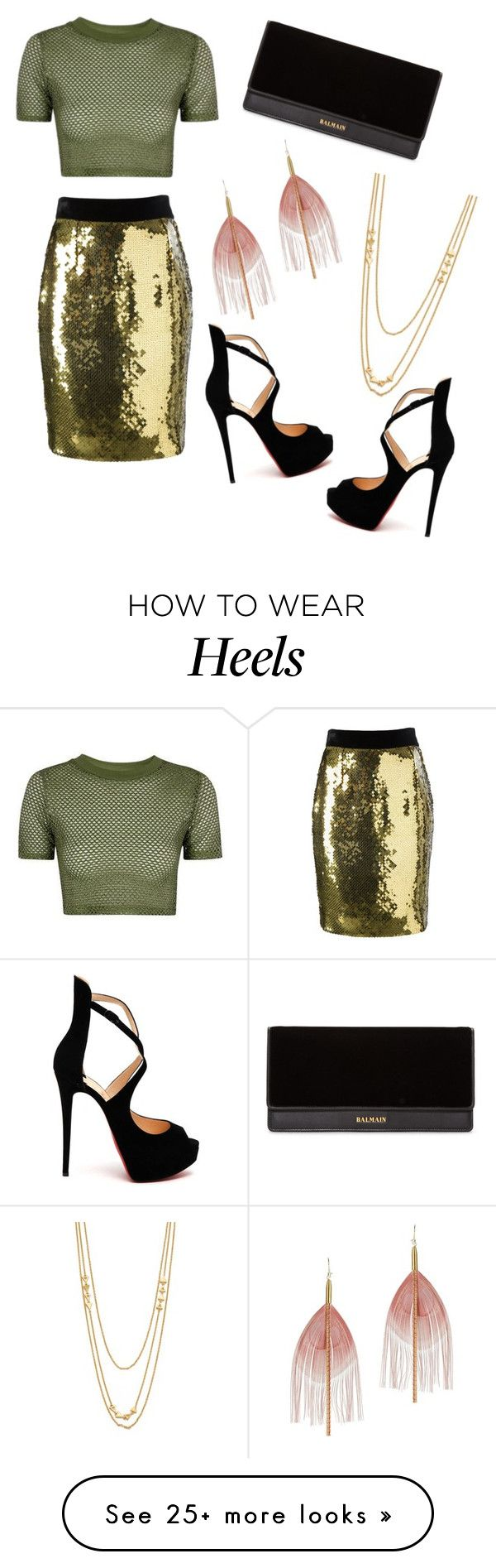 """""""Gold Skirt with Black Clutch and Heels"""" by its-katy on Polyvore featuring Moschino, Christian Louboutin, Balmain, Serefina, Gorjana and Topshop"""