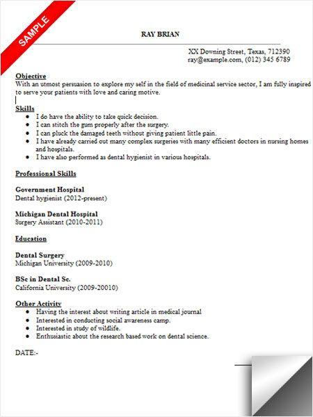 dentist resume sample resume examples pinterest