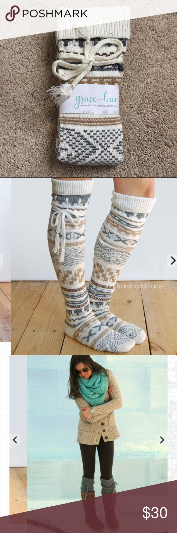 """❤VDAY SALE❤ Grace & Lace Alpine Boot Socks Beautiful and thick textured knit thigh high/ above the knee (depending on your height!) socks are super cute, warm, and cozy! Great for a ski trip with winter boots or, let's be honest, wearing around the house! In the sold out cream, brown and gray intarsia print by Grace & Lace. One size fits most (6, 7, 8, 9, 10, 11 women's sizes). 26"""" tall from heel to top of cuff. Cuff can be folded! 1st and 3rd photos are pulled from the Grace & Lace website…"""