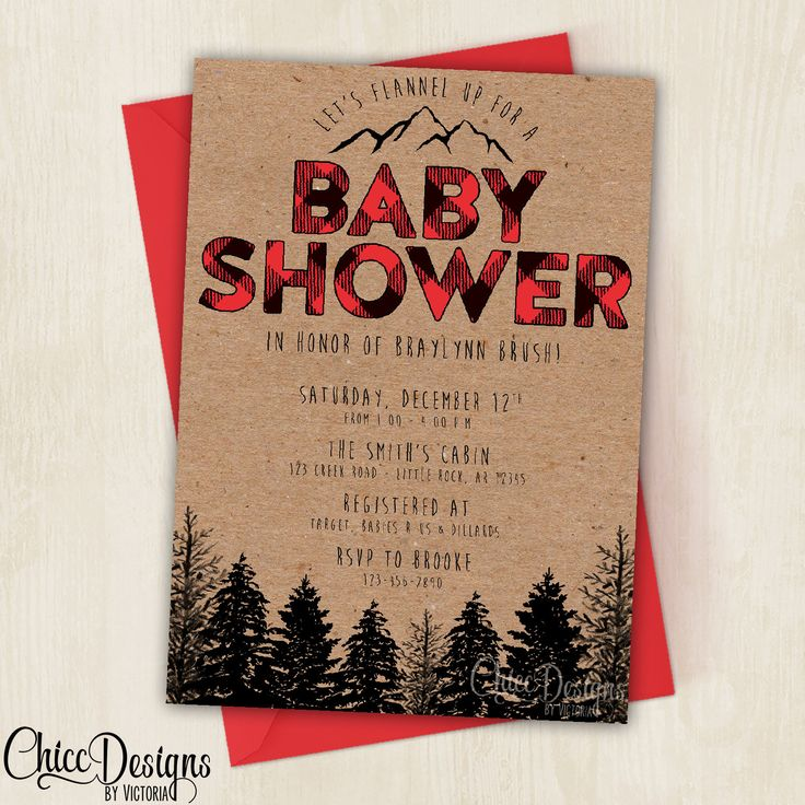 Lumberjack Baby Shower Invite - Baby Shower - Wilderness - Red - Plaid - Lumber Jack Invitation - Baby - 5x7 - Digital/Printable File by ChiccDesigns on Etsy