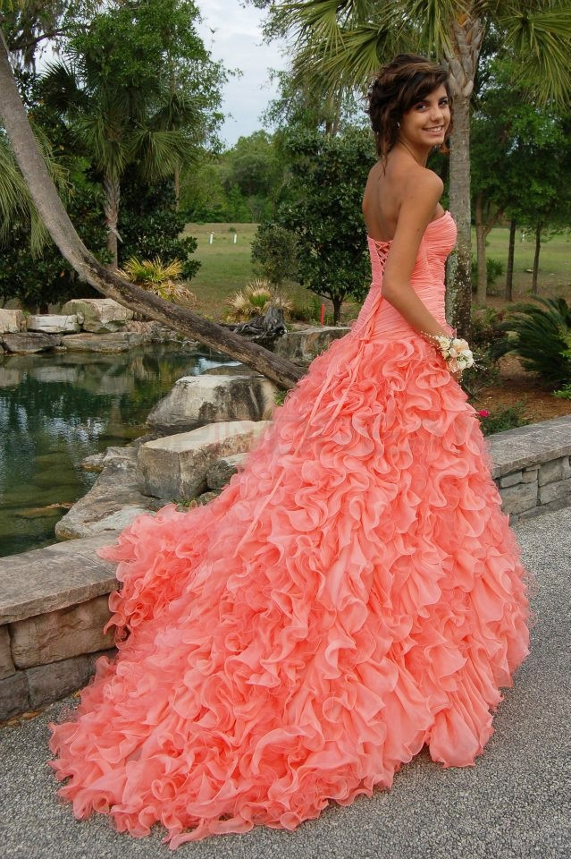 A Line Sweetheart Ruffles Long Coral Prom Dress Images