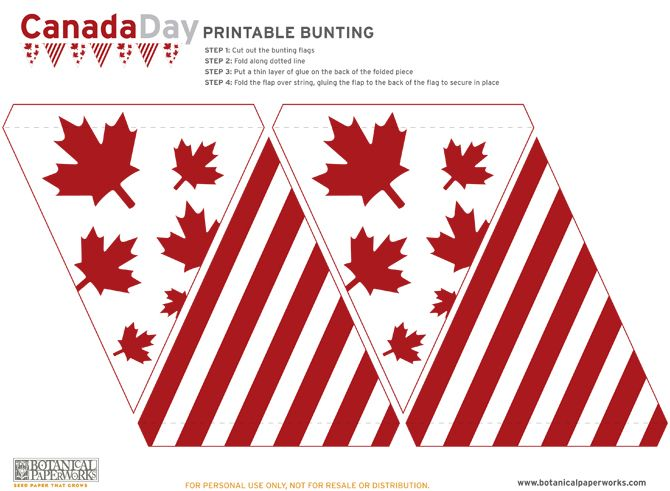 free files for Canada Day Bunting Printables and there is a 4th of July Independence version too
