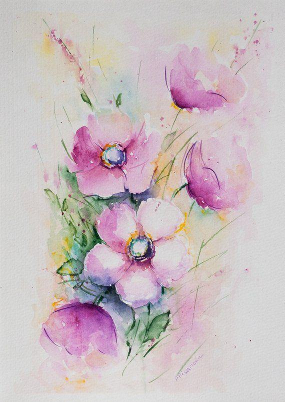 Handgefertigte Artikel Rosa Blumen Original Aquarell Weltweiter