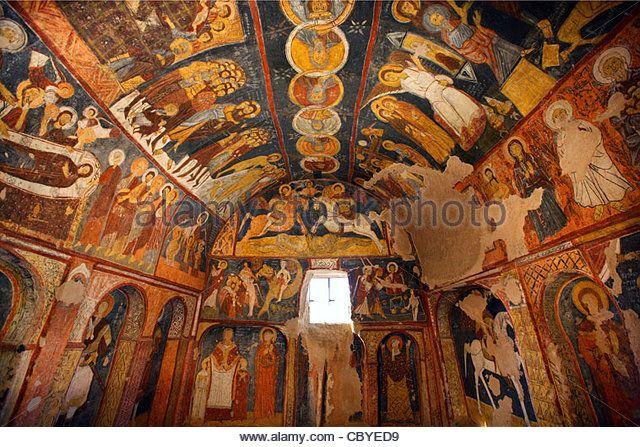 "Inside view of the rock-cut church of Saint John (""St Jean Kilise"" or ""Karsi Kilise"") in Gulsehir, - Stock Image"