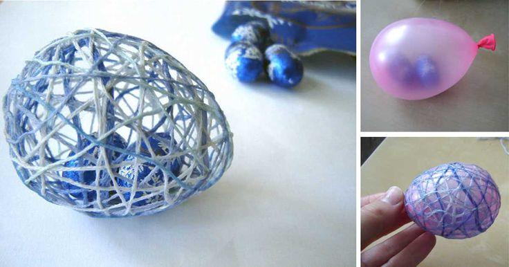 Foto-návod na krásná vajíčka s překvapením uvnitř. Ať už hledáte originální výslužku na Velikonoce, nebo jen milý dárek, mrkněte na tento návod. Potřebujeme barevnou bavlnku balónky čokoládové vajíčko lepidlo (připravené ze stejného dílu krystalového cukru a vody) Postup 1. Připravíme si lepidlo. 1 díl krystalového cukru a 1 díl vody svaříme v hrnci. Cukr se