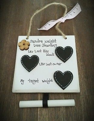 Personalised Handmade diet tracker & weight loss plaque, -  Blackboard hearts ❤
