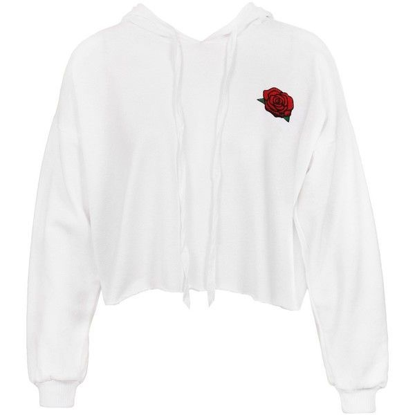 Sans Souci White rose print raw edge cropped hoodie ($34) ❤ liked on Polyvore featuring tops, hoodies, white, hooded pullover sweatshirt, white hoodie, white crop tops, cotton pullovers and cropped hooded sweatshirt