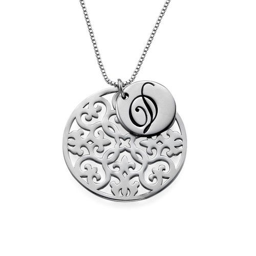 Silver Initial Necklace with Arabesque Pendant   MyNameNecklace