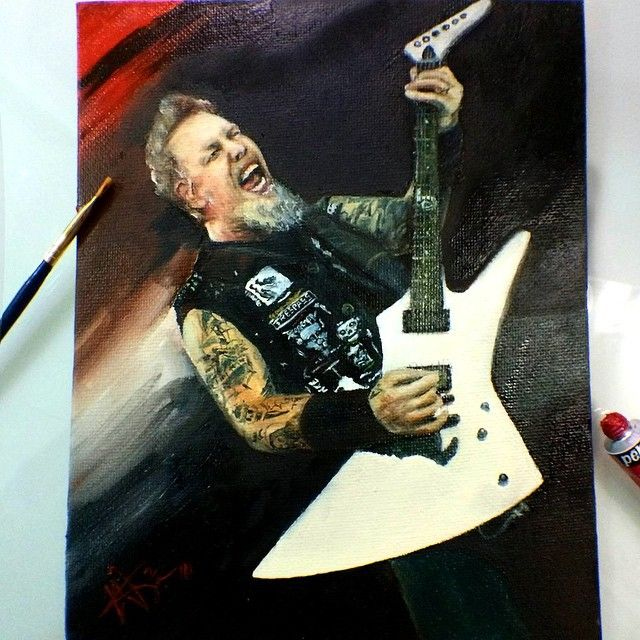 Here i am on the road again \m/ 🎨🎸⛽️\m/ #Metallica #James #paint in #red…