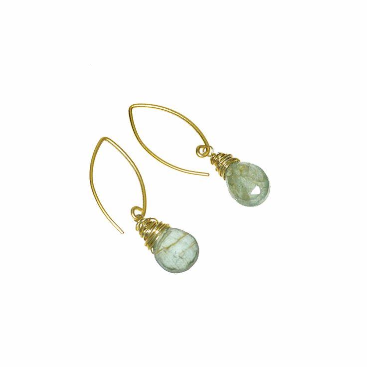 Gold Wrapped Moss Aqua Drops on 18K Vermeil Ear Hooks (DE398LK) $120