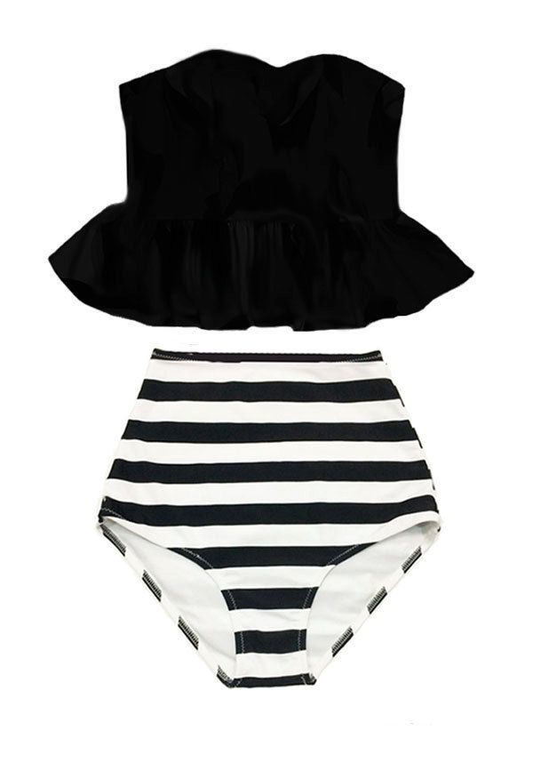 Black Long Top and Stripe Stripes High waisted waist rise cut Retro Bottom Bikini Swimsuit Swimwear Swim Bathing suit dress wear suits S M L by venderstore on Etsy