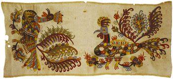 silk embroidery from Skyros -Tμήμα μεταξωτού κεντήματος σε λινό σεντόνι, από τη Σκύρο, 18ος αιώνας