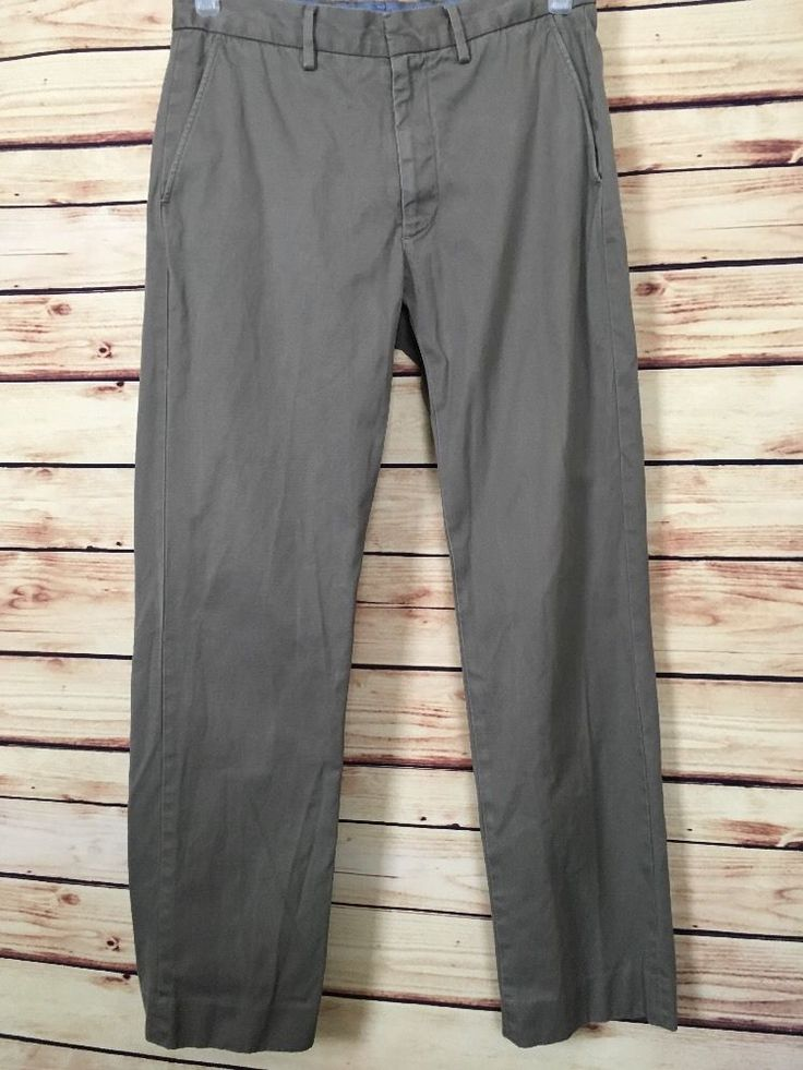 J. Crew mens chino pants size 30X29 khaki olive 100% cotton casual wear to work #JCREW #Work