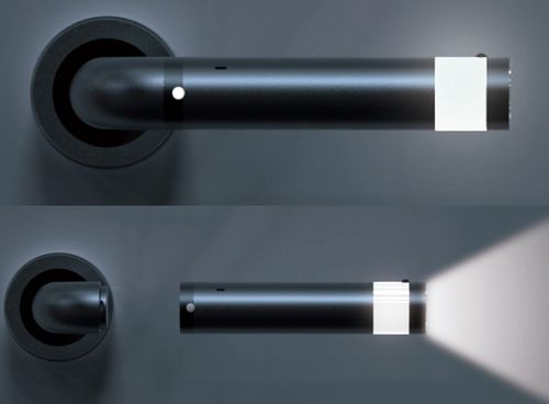 Door handle with emergency led flashlight
