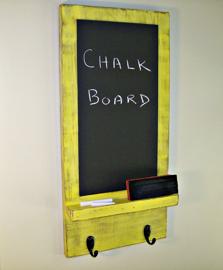 Wooden Chalkboard with Key Hooks - YELLOW - Shabby Chic, Kitchen or Laundry  Room Decor